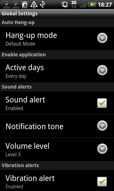 Call Timer:「Global Settings」画面