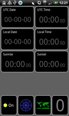 GPS Test:タイムビュー(時計風景)画面