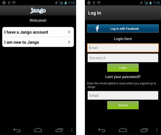 Jango Radio:アカウント入力画面。Facebookのアカウントでもログイン可能