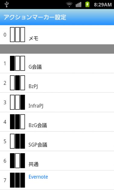 CamiApp:「アクションマーカー設定」画面
