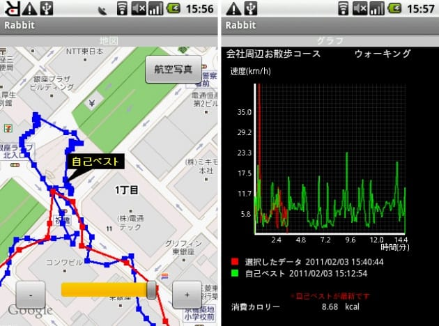 Rabbit:ランニング画面(左)グラフ画面(右)