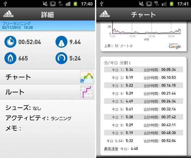 adidas miCoach:ランニングの詳細画面(左)距離と時間を確認できるチャート画面(右)
