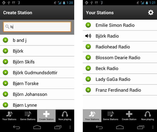 Jango Radio:アーティストを登録し、オリジナルラジオ局「Station」を作ろう
