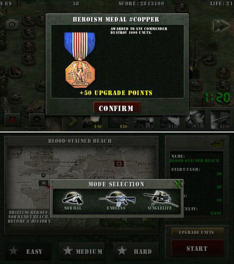 栄光の兵士たち:第二次世界大戦無料:条件を満たすとメダルが貰えるぞ(上)航空ユニットはルートを無視するので注意だ。(下)