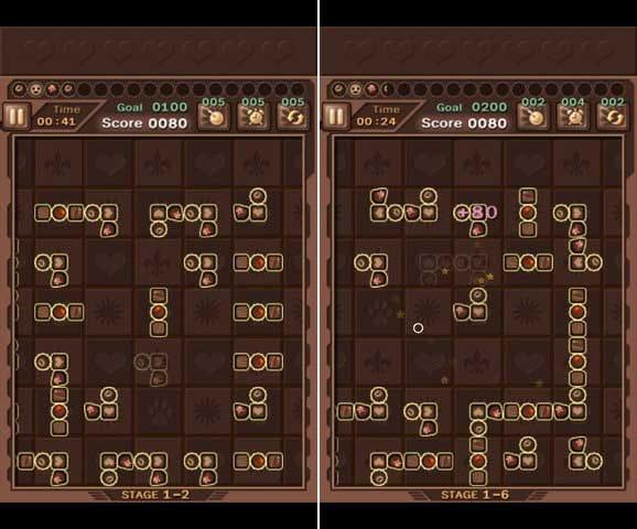回れ回れ:輪を消してもブロックはどんどん出現する。(左)ゲームが進むとさらに複雑なブロックも?(右)