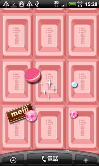 ミルクチョコレート ライブ壁紙:画面をタップすると、お菓子が降ってくる