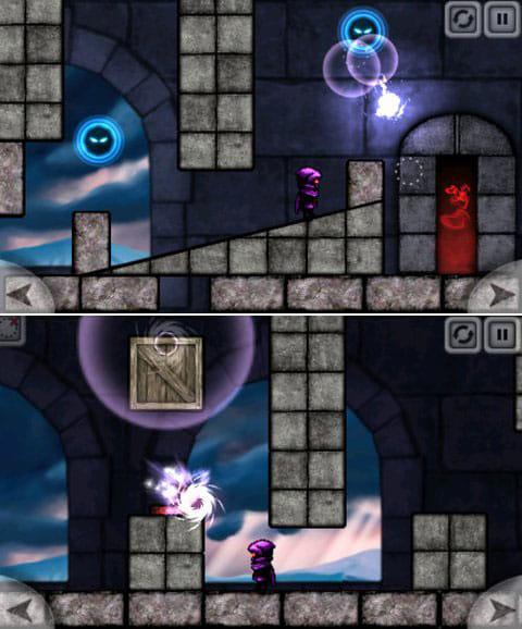 Magic Portals Free:敵も出てくる!(上)ときにはブロックを移動することも!(下)
