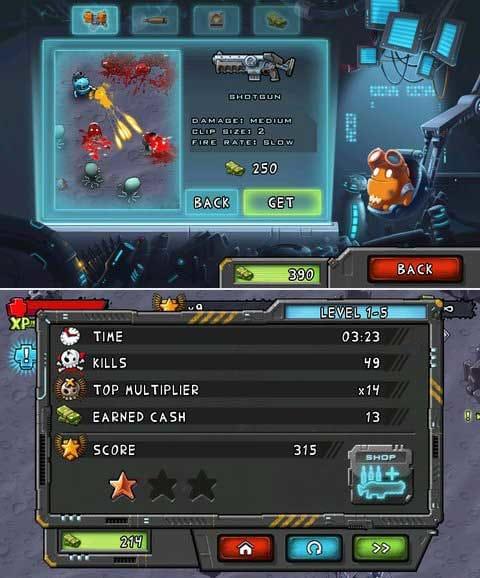 Monster Shooter:ミッションクリアして武器をカスタムしていこう!(上)ミッションクリア後にスコアで★評価される。(下)