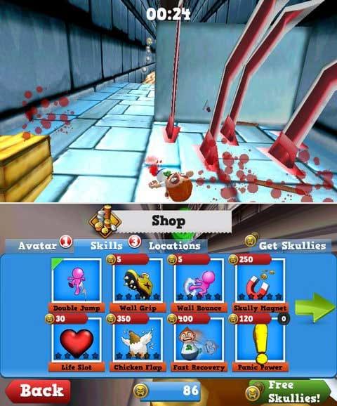 Running Fred:大けがを負うと即ゲームオーバー。(上)コインでキャラの強化が可能。(下)