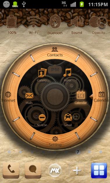 MXHome Launcher:時計の中にショートカットを配置できる