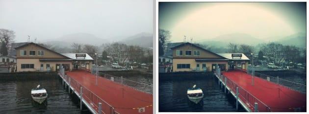 デフォルトのカメラ機能で撮影した画像(左)Pixlr-o-maticで加工した画像(右)
