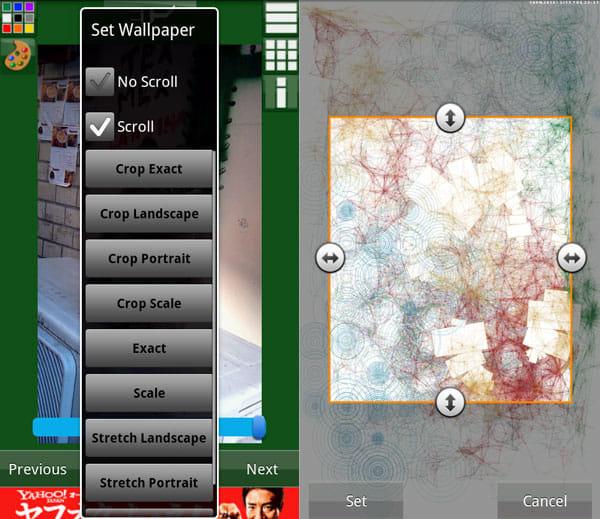 Wallpaper Wizardrii:「Set」タップ画面(左)「Crop Exact」を選択したトリミング画面(右)