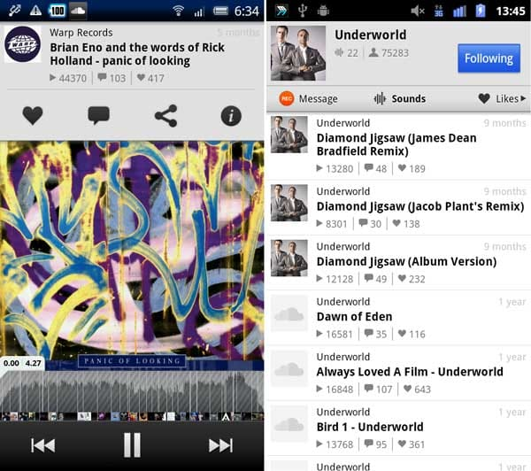SoundCloud:再生中に気になる部分があればコメントしよう(左)「Sounds」画面。聴きたい曲をタップしよう(右)