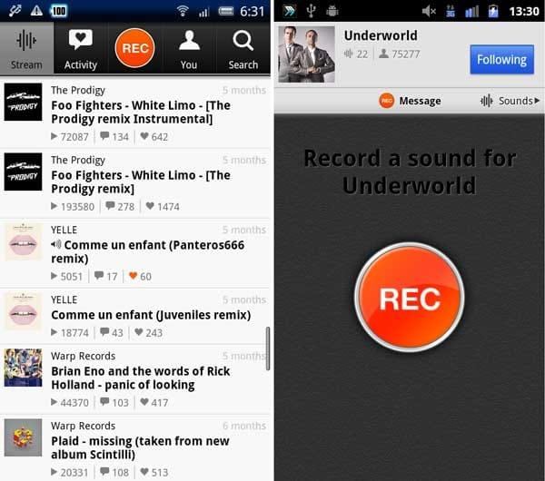 SoundCloud:「Stream」で最新情報を確認(左)音声を送れる「Message」画面(右)