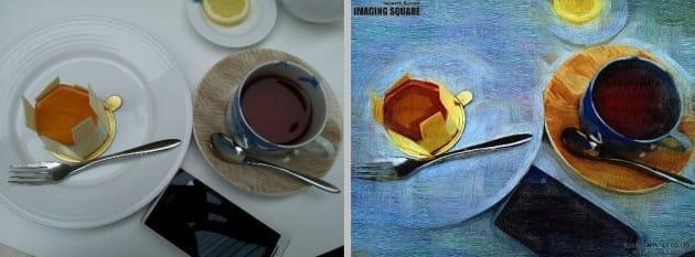 ポーラ美術館のカフェでケーキセットを撮影(左)『IMAGING SQUARE』で加工したもの(右)