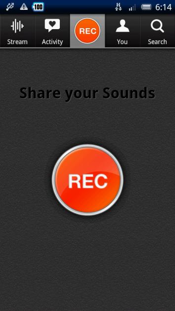 SoundCloud:「REC」でその場での録音も可能