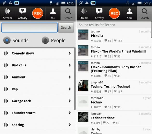 SoundCloud:検索はカテゴリもしくは直接名前を入力すると、右のようにアーティストが表示される