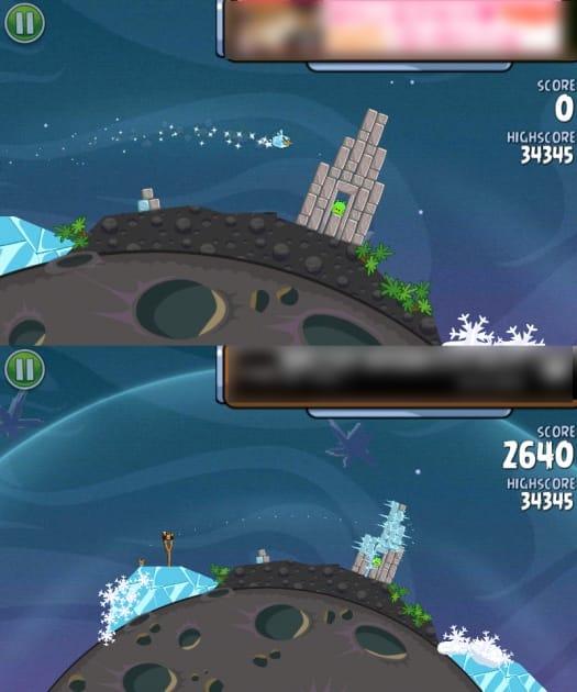 Angry Birds Space:Ice Birdは、どんな障害物でも一瞬で凍らせる力を持つ。硬い障害物は凍らせてから、一気に破壊しよう