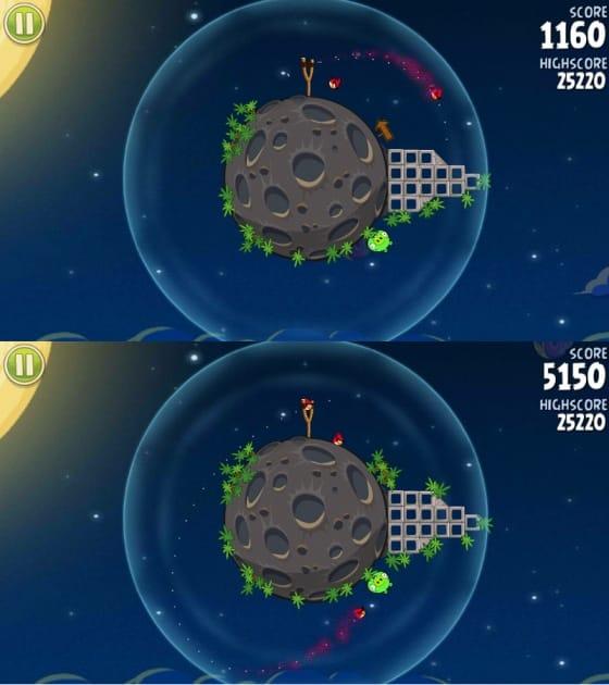 Angry Birds Space:画面右にある障害物が邪魔して、普通に鳥を飛ばしてもブタを倒せない(上)鳥を画面左下に向けて放つと、画面右側に向けて大きく弧を描いて戻ってくる(下)