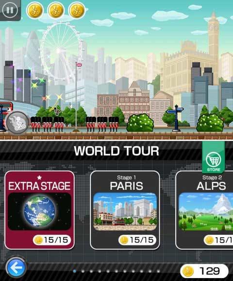 チャリ走DX:アイテムでチャリがカスタムされ機能増幅するぞ!(上)コイン100枚集めると隠しステージが遊べるよ!(下)