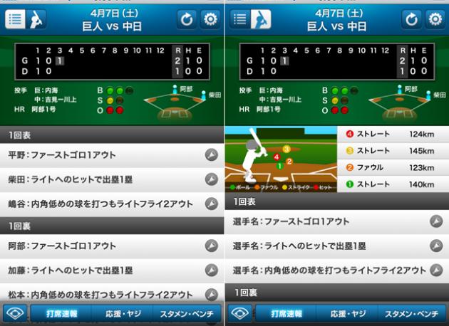 プロ野球打席速報:テキストモード(左)とリアルモード(右)