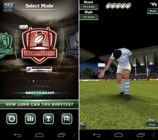 Flick Nations Rugby:プレイヤーのレベルに応じた多彩な5つのゲームモード!(左)3Dグラフィックで描画される演出面も楽しい!(右)