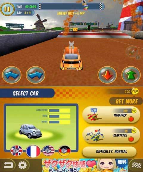 Mad Tracks:ライバルの車をミサイルで妨害しよう!(上)課金することで様々な車を使用することもできる。(下)