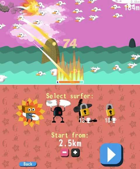 Robo Surf:オイルをためてファイヤー!敵を一掃だ!(上)隠しキャラもいるぞ。トロフィー揃えて手に入れよう!(下)