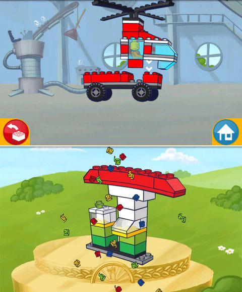 LEGO® App4+:集めたレゴブロックで自由に乗り物をカスタマイズ!(上)レゴで作られたアイテムをコレクションしよう。(下)