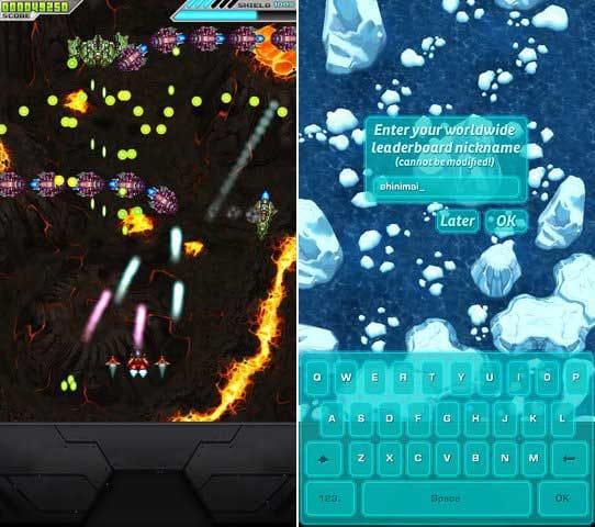 Shogun: Bullet Hell Shooter:ボス戦だけではなく道中のザコの配置も本格的!(左)ネットランキングも対応!しかも入力インターフェースもカッコいい!(右)