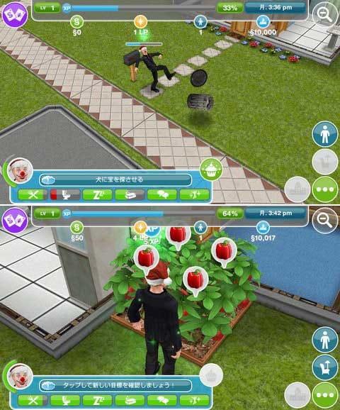 The Sims フリープレイ:完全自由なゲームなので悪事もできる(笑)(上)栽培もできちゃうぞ!(下)