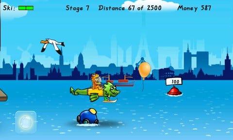 Birdman Rally:運頼みのプレイでも水面スレスレの飛行などはなかなかスリリング。