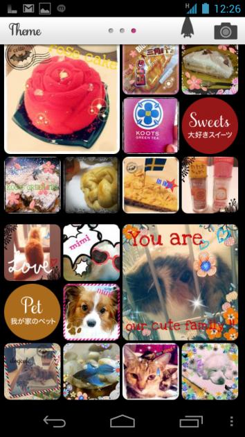 Cotto おしゃれデコ写真アプリ:「Theme」画面