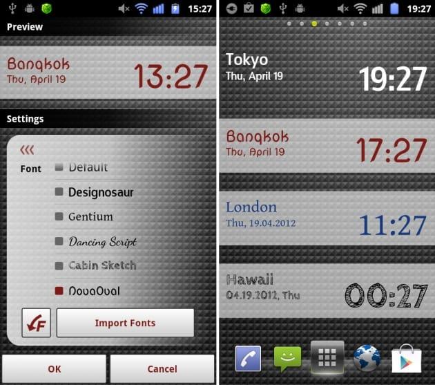Band O'Clock:フォントを変えるだけで印象が変わる(左)サイズは4×1のみ。ホーム画面によく映える(右)