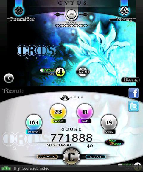 Cytus:現バージョンの曲数は少ないが、どれも良曲。(上)スコアを世界のプレイヤーと競え!(下)