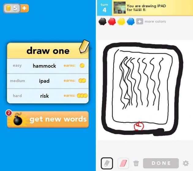 Draw Something Free:何を描くかは自分で選択できる(左)ペンの太さや色を変えて正確に描こう(右)