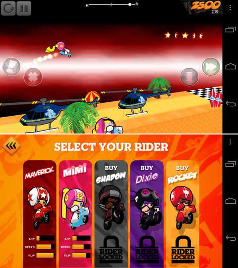Flip Riders:ニトロをゲットして爽快にジャーーンプ!(上)国産のゲームには無いセンスのカワイイデザインにも注目だ!(下)