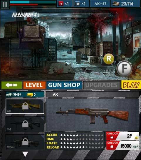 Gun & Blood:ヘッドショットを狙って素早く倒そう!(上)好みの武器を見つけてカスタマイズしよう!(下)