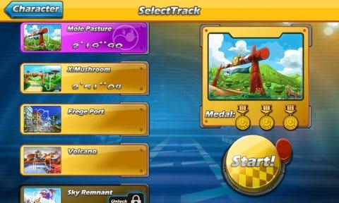 Mole Kart:コースは7つ。序盤のコースで優勝しないと全コース遊べないよ。