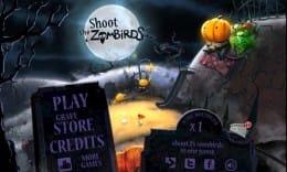 Shoot The Zombirds:メニュー画面だけでも一見の価値アリ!カワイイけどホラーな雰囲気。