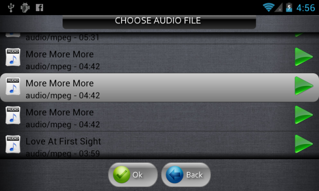 音楽ファイル選択画面