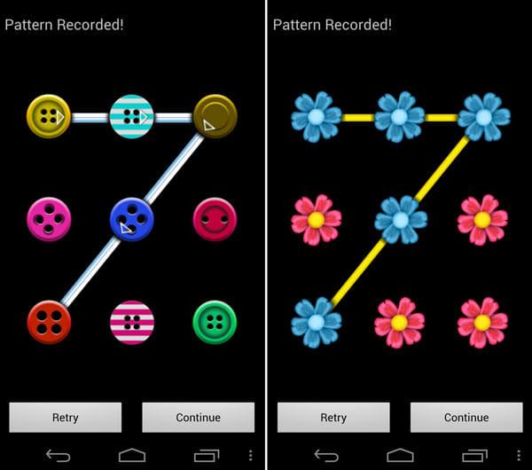 Dot Locker - ロック画面をカスタマイズ:Buttons(左)Flower(右)