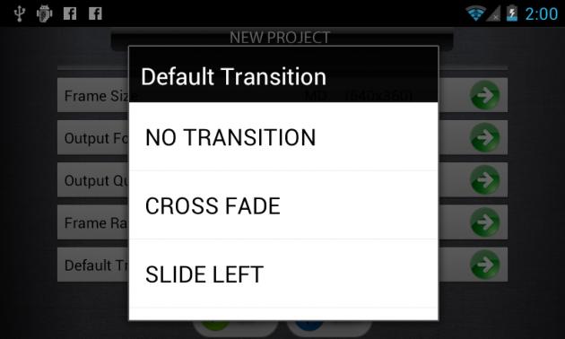 「Transition」選択画面