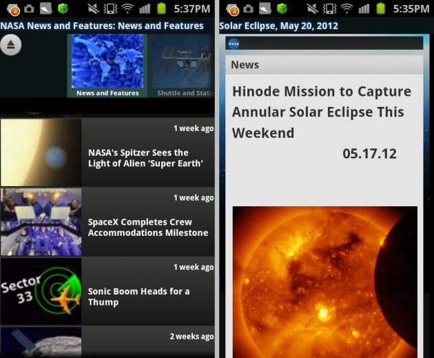 NASA App:最新の宇宙情報(左)金環日食の情報も!(右)