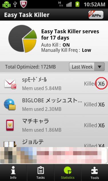 Easy Task Killer Advanced:ステータス画面には、アプリを終了させた回数が表示される