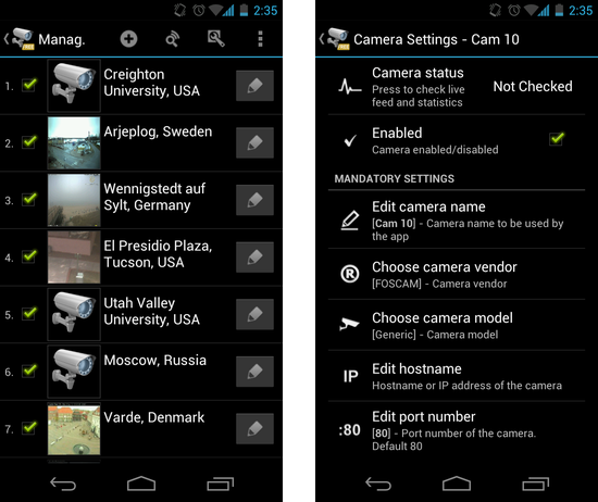 tinyCam Monitor FREE:カメラの新規登録は上部の「+」アイコンから。カメラチャンネルの「鉛筆」アイコンから設定が行える