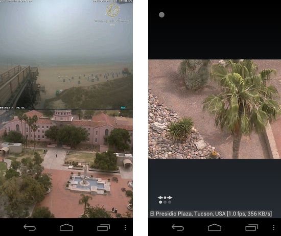tinyCam Monitor FREE:視聴したい映像をダブルタップすれば1画面に拡大