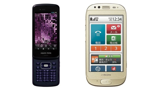 左から「AQUOS PHONE SL IS15SH」(au)「らくらくスマートフォン(F-12D)」(ドコモ)