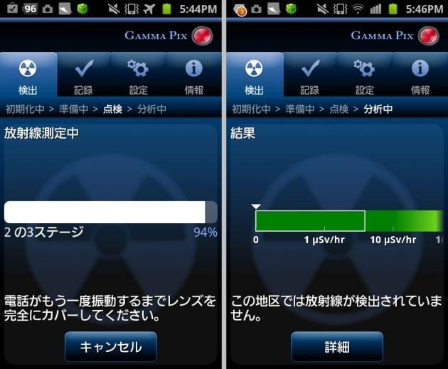 GammaPix Lite:カメラレンズをカバーし測定中(左)ふう~自分の周りでは検出されなかった(右)