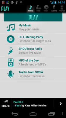 PLAY by AOL Music:「MUSIC」画面